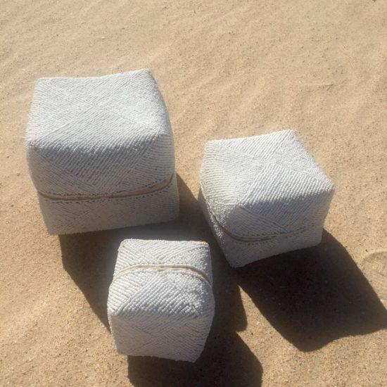Beaded white Boxes set 3