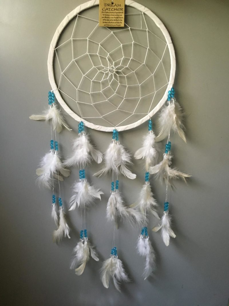 dreamcatchers 22cm White with green bead