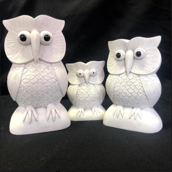 STONE OWL SET 3 15, 20, 25