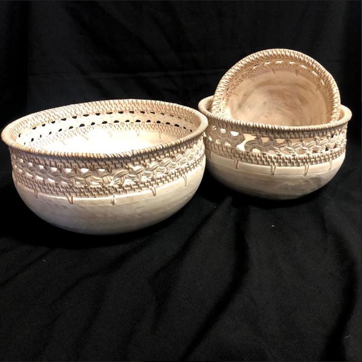 set of 3 bowls wooden