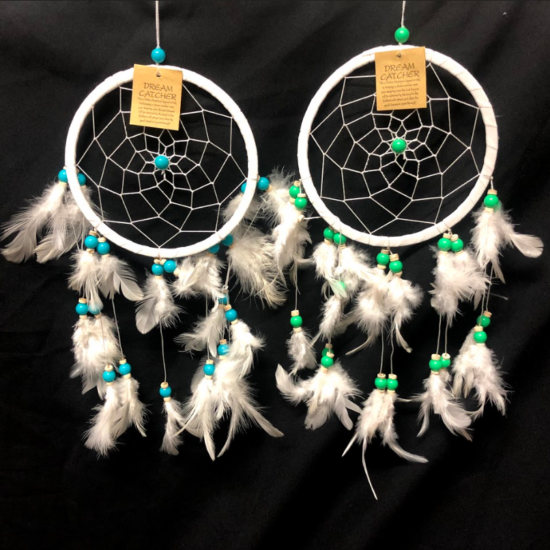 Dreamcatcher set of 2 green and blue beads