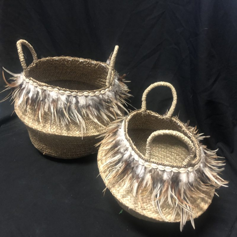FEATHER BASKET SET 2