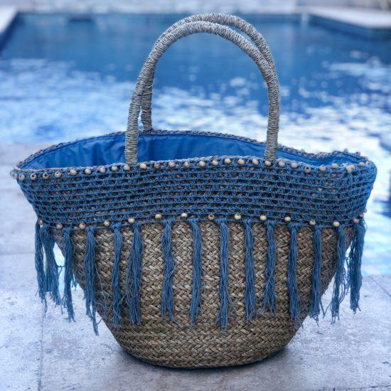 BLUE/GREY B/BAG BEADED