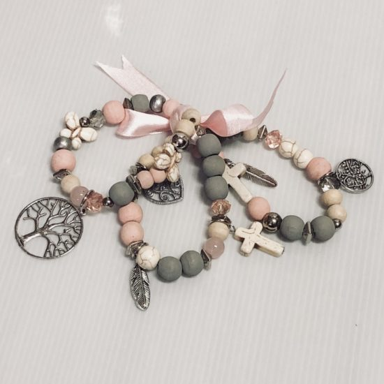 3 BRACELETS PINK WITH CHARMS
