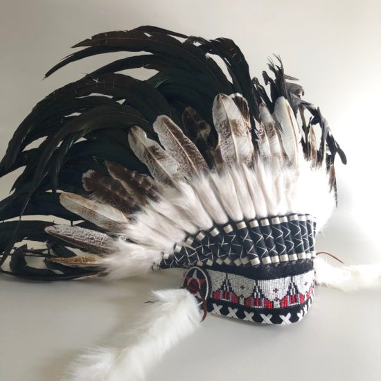 Headdress natural turkey feathers