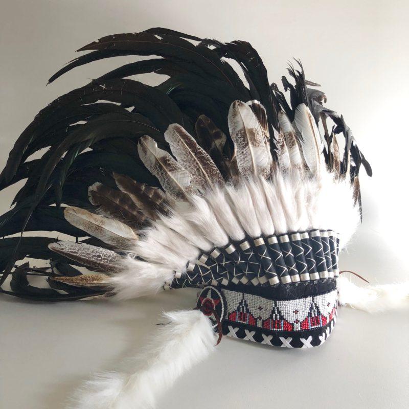 Headdress natural turkey feathers