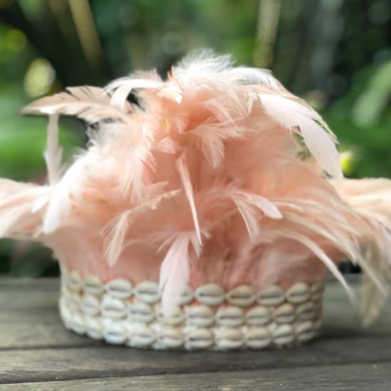 Headband pink with soft feathers