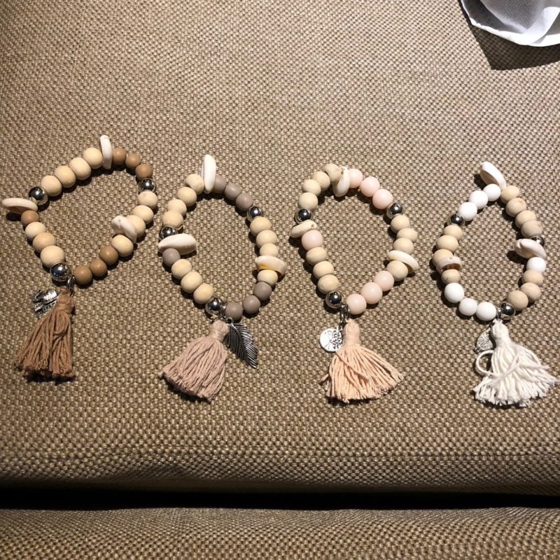 bracelet with tassel and shell set 4 colours