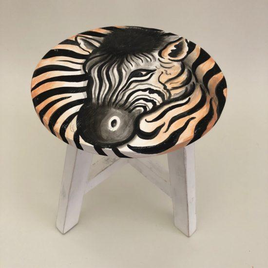 Zebra stool white