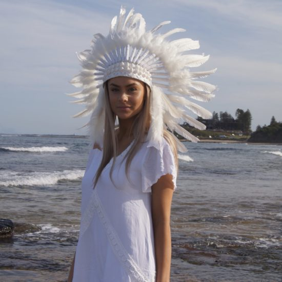 White headdress with shells