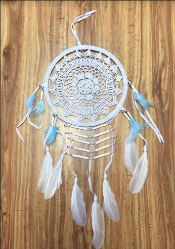 Deamcatcher white crochet with blue feathers