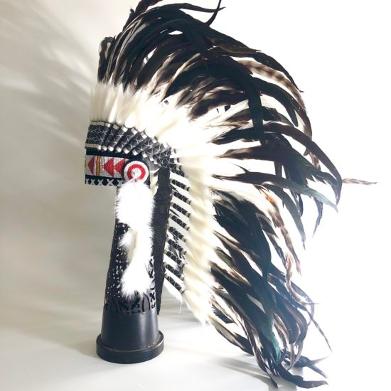 Headdress long natural feathers