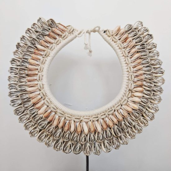 Peach grey shell necklace